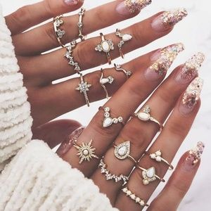 ☆Fannie☆ Boho set of 15 rings